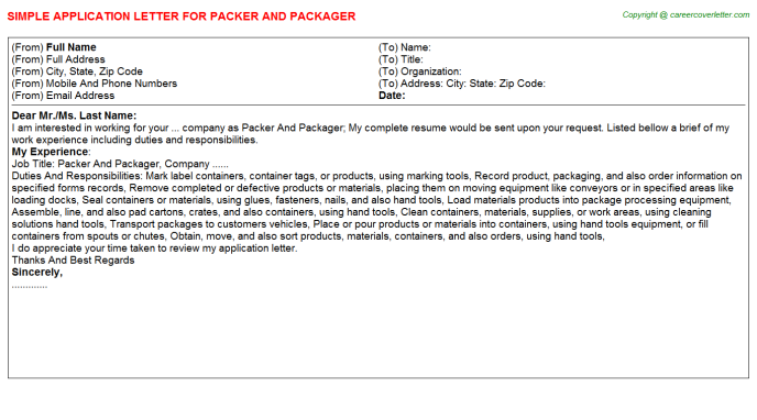 Packer And Packager Job Application Letter Template