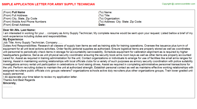 army-supply-technician-application-letter Technician Application Letter on for school sample, personal loan, formal job, format example, for ojt, free samples,