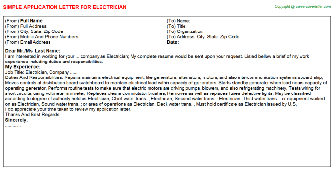 Electrician Application Letter Template