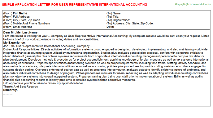 User Representative International Accounting Application Letter Template