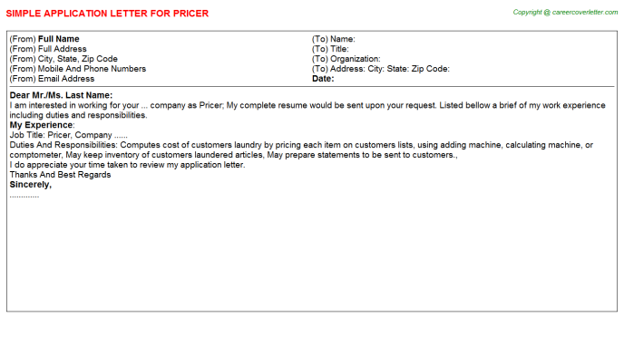 Pricer Application Letter Template