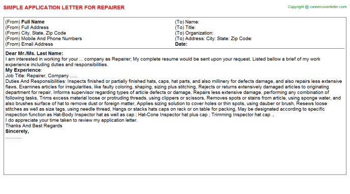 Repairer Application Letter Template