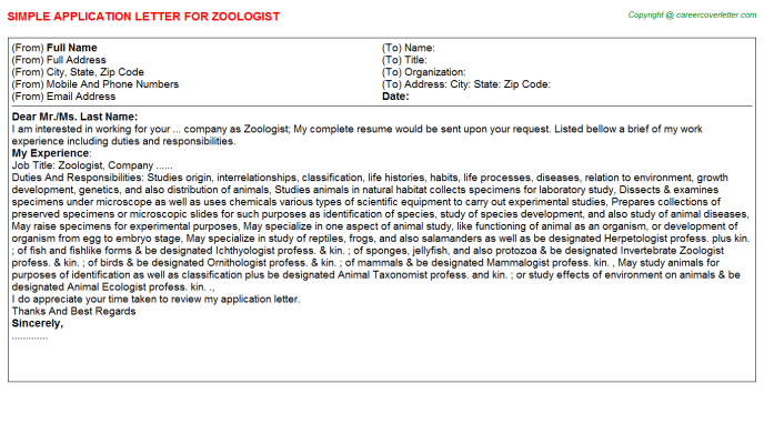 Zoologist Job Application Letter Template