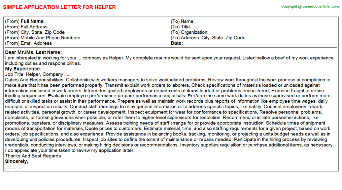 Helper Job Application Letter Template