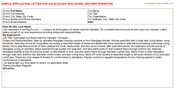 Solid Glass Rod Dowel Machine Operator Application Letter Template