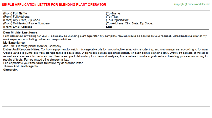 Blending plant Operator Job Application Letter Template
