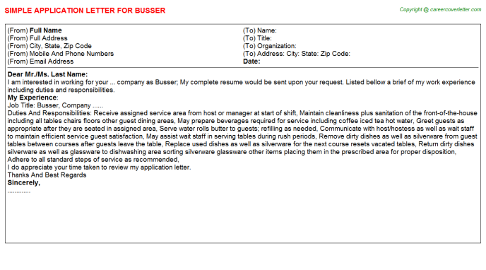 Busser Application Letter Template