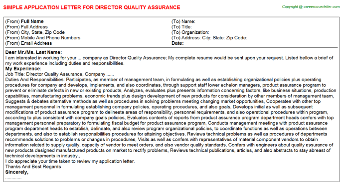 Director Quality Assurance Career Samples