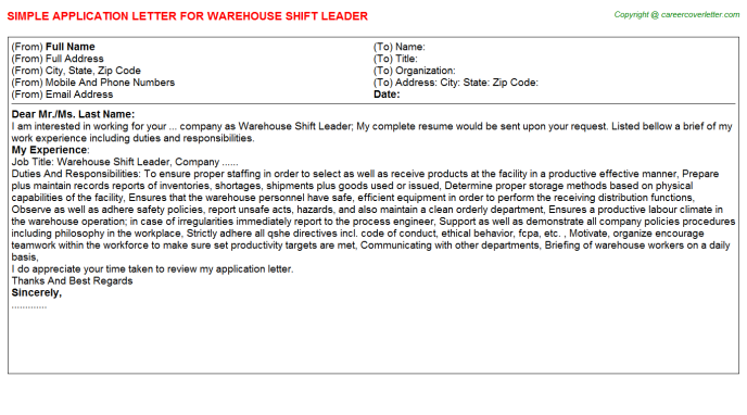 Warehouse Shift Leader - Free Doc Format Templates Downloads