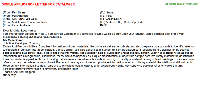 Cataloger Job Application Letter Template