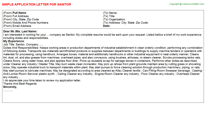 Sanitor Application Letter Template