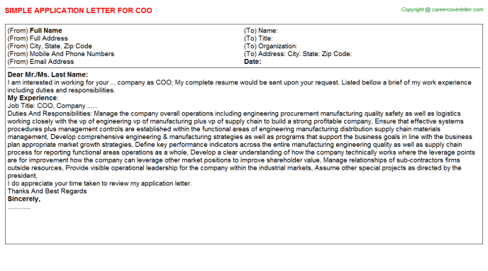 COO Application Letter Template