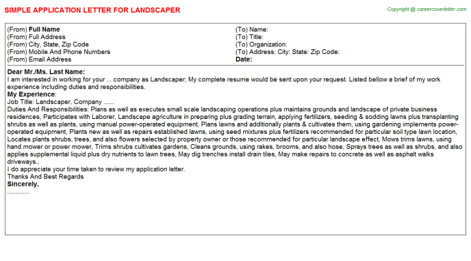 Landscaper Application Letter Template