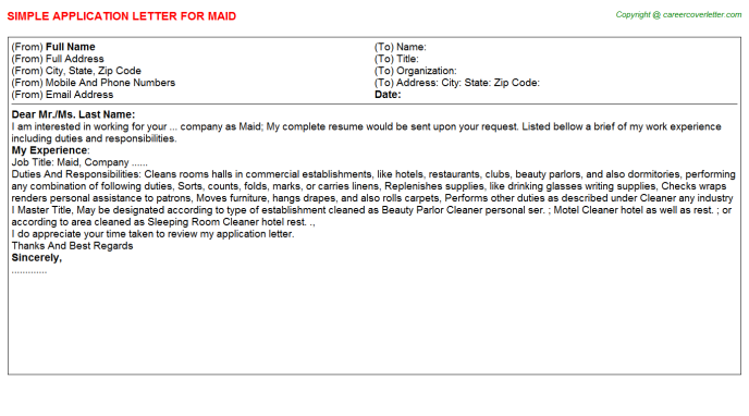 Maid Job Application Letter Template