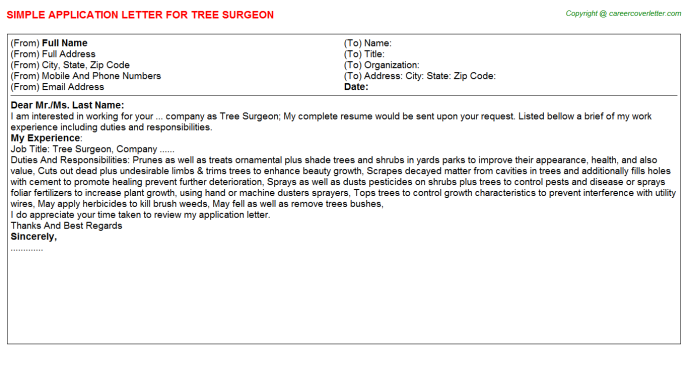 Tree Surgeon Application Letter Template
