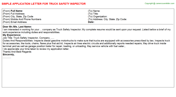 Truck Safety Inspector Application Letters