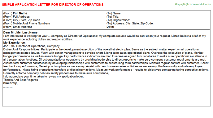 Director Of Operations Application Letter Template