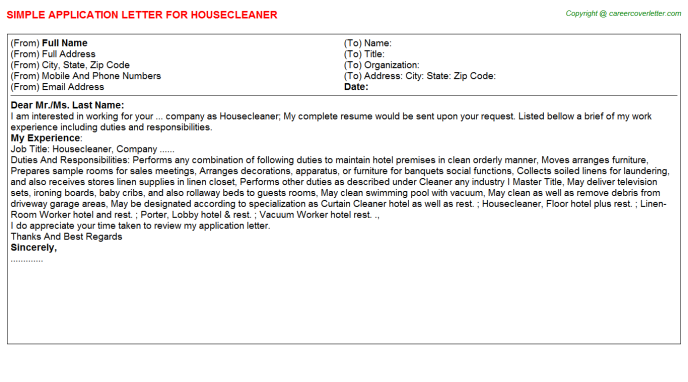 Housecleaner Application Letter Template