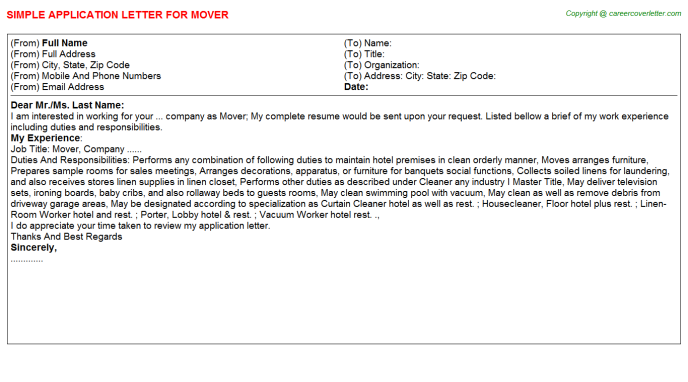 Mover Application Letter Template