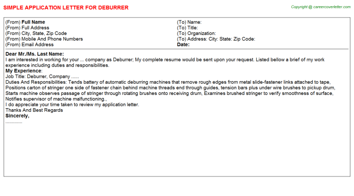 Deburrer Application Letter Template