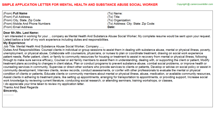 Mental Health And Substance Abuse Social Worker Application Letter Template