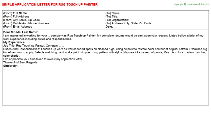rug touch up painter application letter template