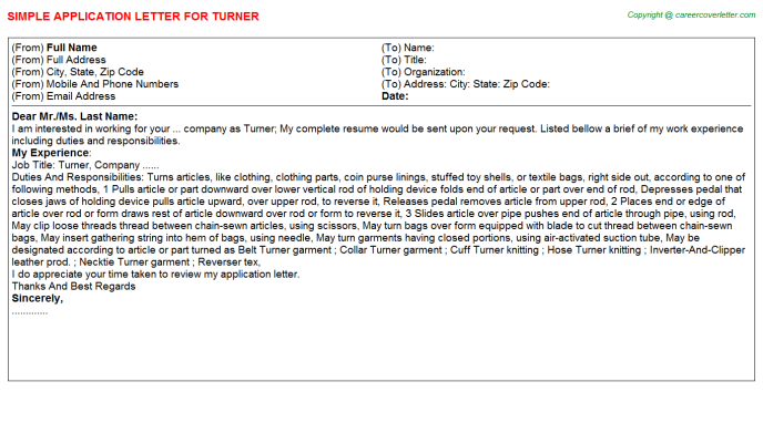 Turner Application Letter Template