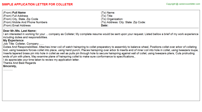 Colleter Application Letter Template