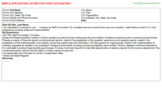 Staff Accountant Application Letter Template