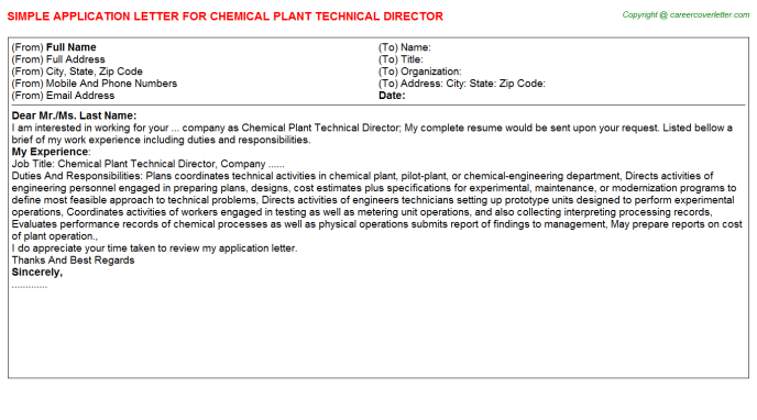 chemical plant technical director application letter template