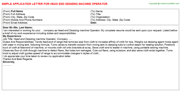 Head end Desizing machine Operator Application Letter Template