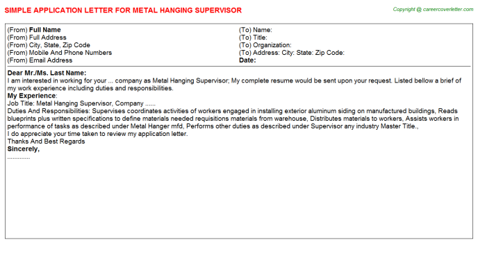 Metal Hanging Supervisor Application Letter Template