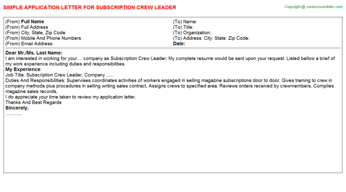 subscription crew leader application letter template