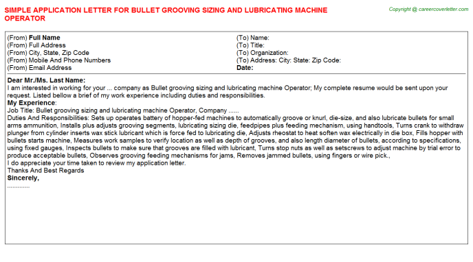 Bullet grooving sizing and lubricating machine Operator Application Letter Template