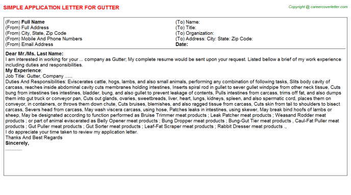 Gutter Application Letter Template