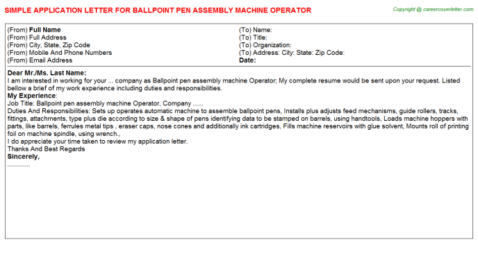 Ballpoint pen assembly machine Operator Application Letter Template