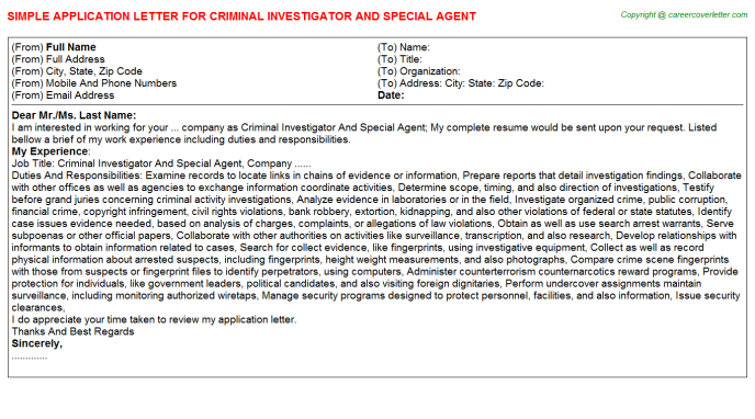 criminal-investigator-and-special-agent-Application-Letter Sample Investigator Application Letter on for school board, any position, teaching position, college scholarship, for transfer, high school, for housekeeping,