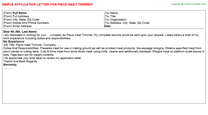 piece meat trimmer application letter template