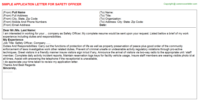 Safety Officer Application Letter Template