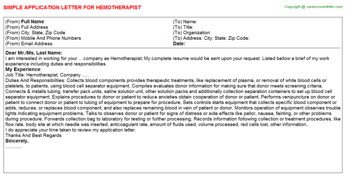 Hemotherapist Job Application Letter Template