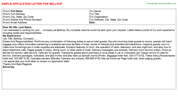 Bellhop Application Letter Template