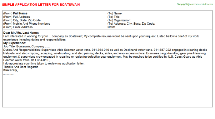 Boatswain Job Application Letter Template