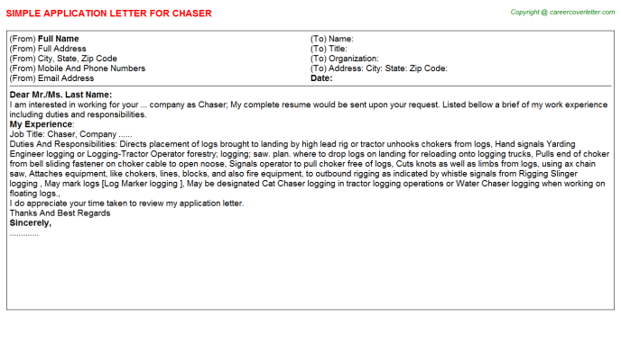 Chaser Application Letter Template