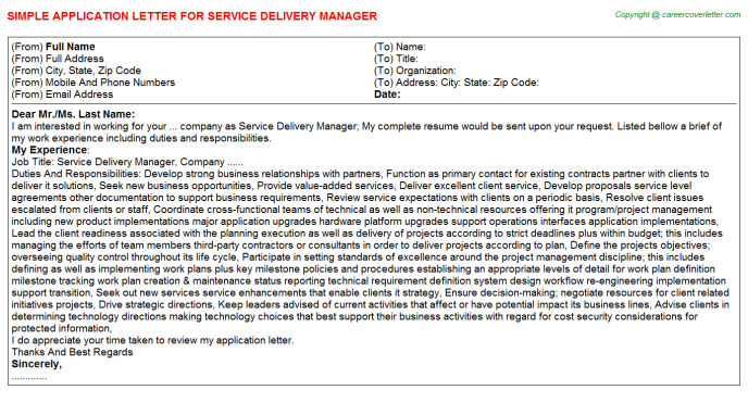 Service Delivery Manager Application Letter Template