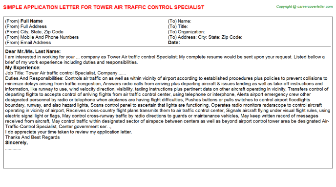 Tower Air Traffic Control Specialist - Free Doc Format ...
