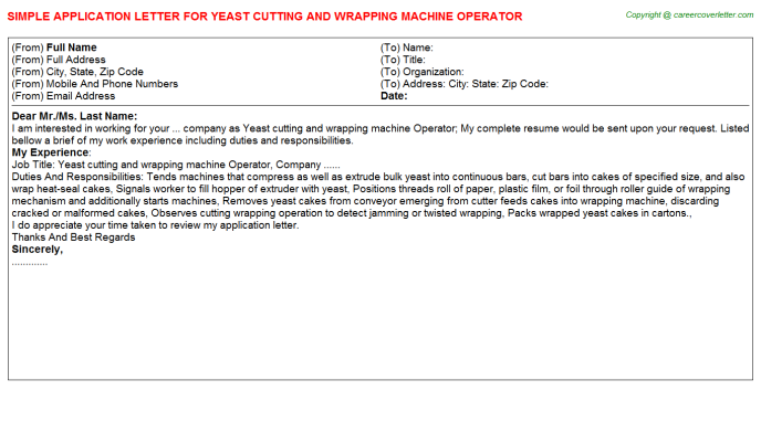 Yeast cutting and wrapping machine Operator Application Letter Template