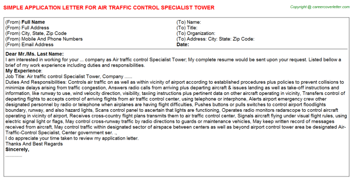 Air Traffic Control Specialist Tower Job Application Letter ...