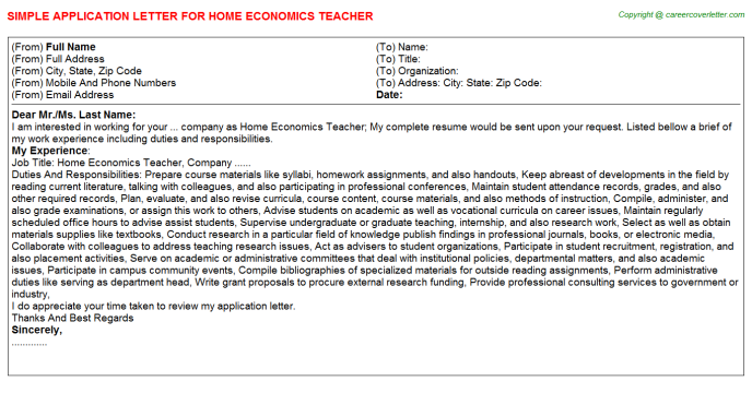 Home Economics Teacher Application Letter Template