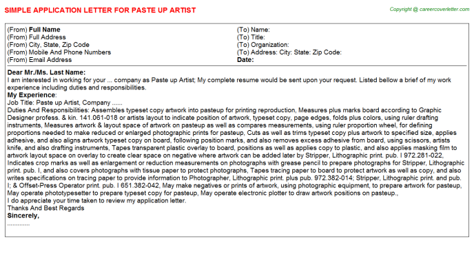Paste Up Artist Job Application Letter Template