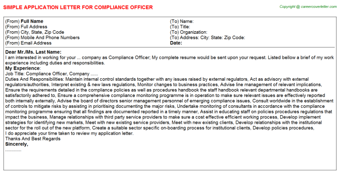 Compliance Officer Application Letter Template
